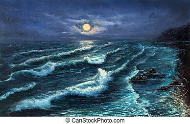 Ocean shore at night - Original oil painting showing ocean ...