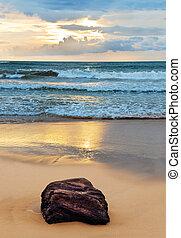 ocean shore at sunset
