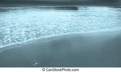 Ocean Shore. Moving waves with foam