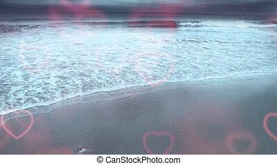Ocean Shore - Ocean shore and love hearts