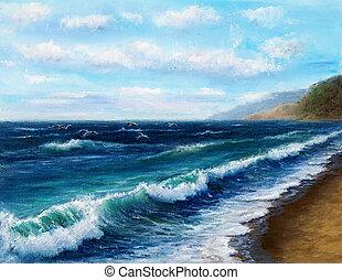 Ocean shore - Original oil painting showing ocean or sea on...