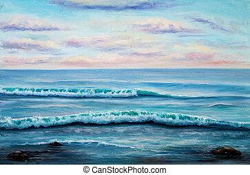 Ocean shore - Original oil painting showing ocean or sea, ...