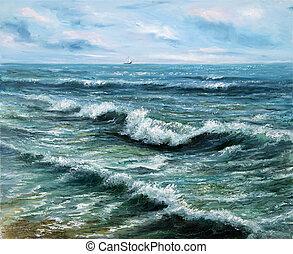 Ocean shore - Original oil painting showing ship or boat in ...
