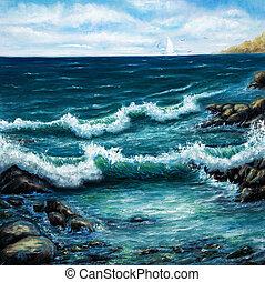 Ocean shore - Original oil painting showing ship or boat in...