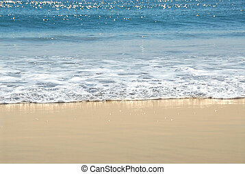 Ocean shore with sandy beach and advancing wave