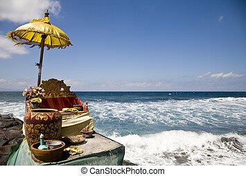 Ocean shrine - Balinese offering shrine at the ocean