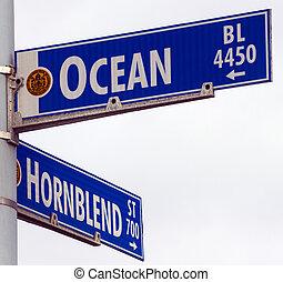 Ocean sign closeup.