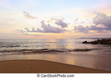 ocean, solnedgång