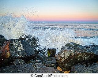 Ocean Spray at Sunset