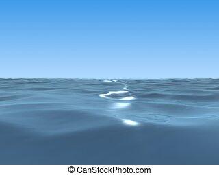ocean  - 3d rendered illustration of the wide blue sea