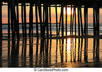 Ocean Sunrise Behind Pier - On Maine's Old Orchard Beach,...