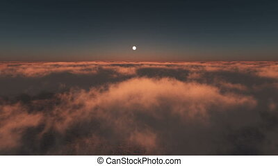 ocean sunset above clouds