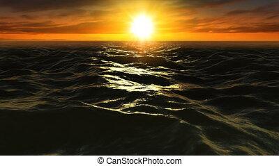 Ocean Sunset Fly