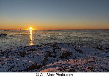 Ocean sunset in winter