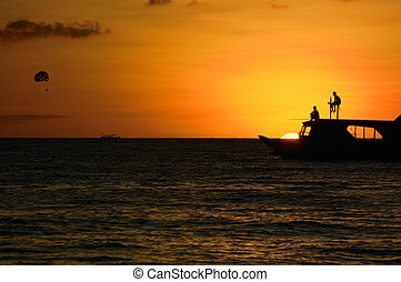 Ocean sunset landscape in Boracay island, Philippines
