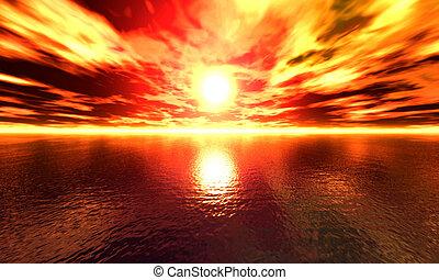 Ocean Sunset - High res, digitally created ocean sunset.