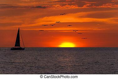 Ocean Sunset Sailing Fantasy