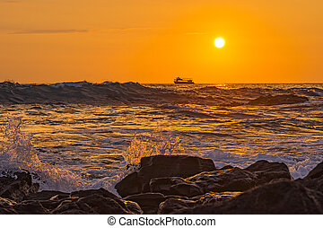Ocean Surf at Sunset Kailua-Kona Big Island Hawaii USA