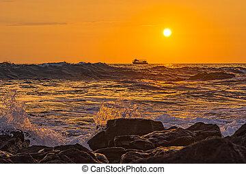 Ocean Surf at Sunset Kailua-Kona Big Island Hawaii USA