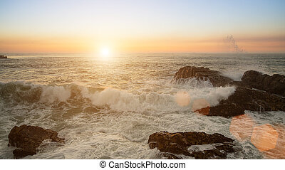 Ocean Surf during the sunset.