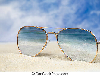 ocean surf reflection in aviator sunglasses