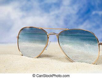 ocean surf reflection in aviator sunglasses