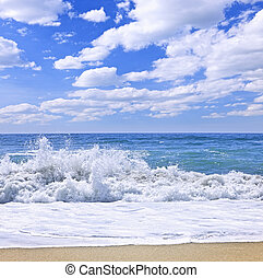 Ocean surf crashing on pristine beach, Pacific Rim National...