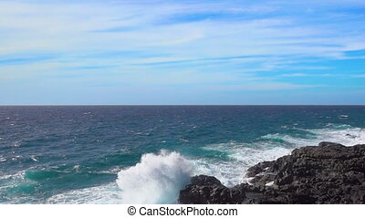 Ocean Surf  - slow motion of waves and fast motion of clouds