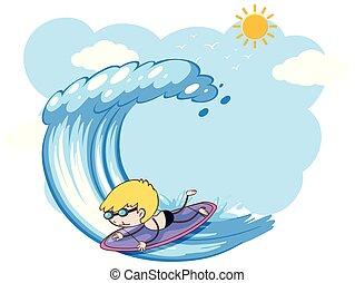 ocean, surfing, młody, surfer