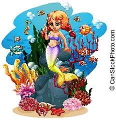 ocean, syrena, dużo, fish