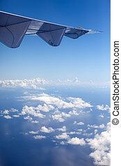 ocean through clouds. Aerial view.