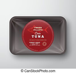Ocean Tuna Fillets. Abstract Vector Fish Plastic Tray with Cellophane Cover Packaging Design Round Label or Sticker. Retro Typography and Hand Drawn Tuna Silhouette Background Layout.