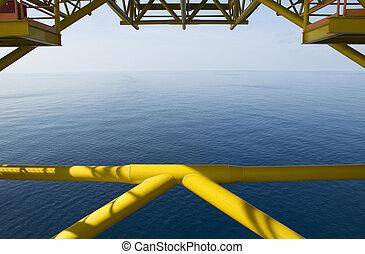 ocean udsigt, af, olie udstyre