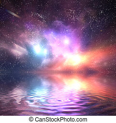 Ocean under galaxy, space sky. Stars, lights, fantasy background. Water reflection