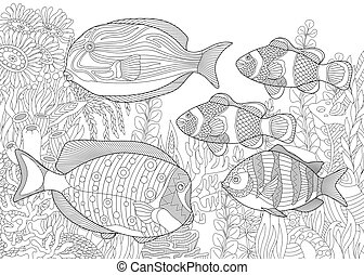Ocean underwater background with tropical fishes - Coloring...