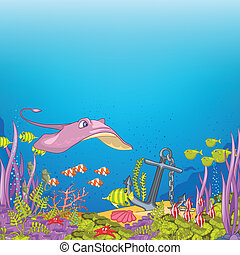 Ocean Underwater Cartoon. Coral Reef with Alga and Fish. ...