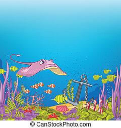 Ocean Underwater Cartoon. Coral Reef with Alga and Fish. ...