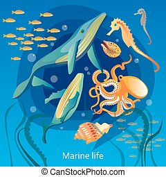 Ocean Underwater Life Illustration - Ocean Underwater Life...