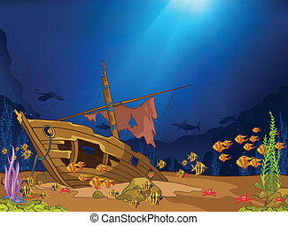 Ocean Underwater World Cartoon. Coral Reef with Alga and ...
