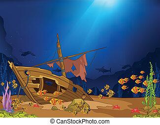 Ocean Underwater World Cartoon. Coral Reef with Alga and ...