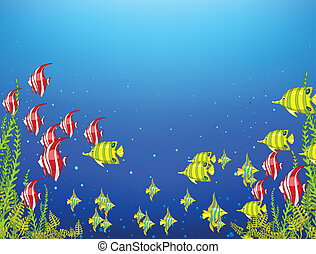 Ocean Underwater World. Coral Reef with Alga and Fish. Vector.