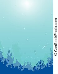 Ocean underwater world with different plants and animals. vertical background marine sea bottom silhouette Deep blue water