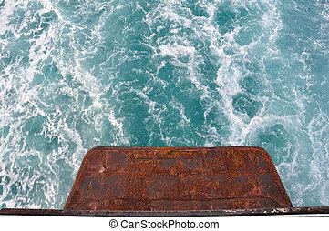 ocean, vakna, fiske, tvätta, vit, stötta, fart båt
