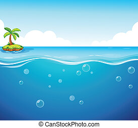 Ocean - illustration of an island and the ocean
