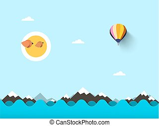 Ocean. Vector Flat Sea Background with Waves and Hot Air Balloon.