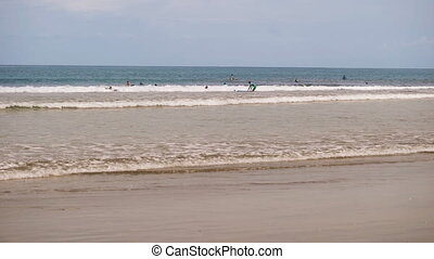 Ocean View, each busy with his business. Young boys and girls ride the surf, trying to catch a wave, brown dachshund running along the beach, playing with striped ball, adult women bathe in the sea