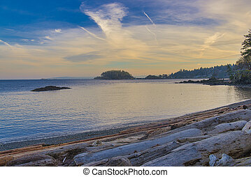 Ocean view from Neck Point park in Nanaimo at sunset, Vancouver Island