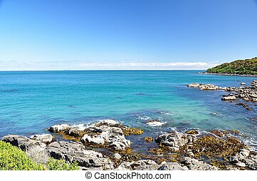 ocean view from rocky beach in Bluff, New Zealand