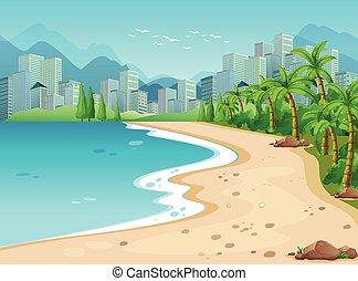 Ocean view - Ocean scene with city background