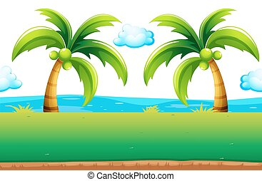 Ocean view with coconut trees